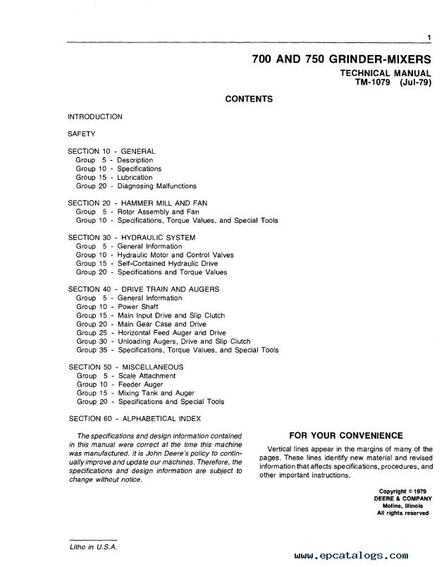 John Deere 700 750 Grinder-Mixers TM1079 Technical Manual PDF