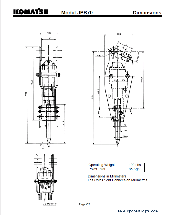 komatsu hydraulic breaker jpb70 operation and maintenance pdf manual