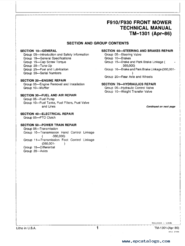 John Deere F910 & F930 Front Mower TM1301 Technical Manual PDF on john deere ignition wiring diagram, john deere la115 wiring diagram, john deere f510 wiring diagram, john deere mower wiring diagram, john deere lx173 wiring diagram, john deere lx178 wiring diagram, john deere la145 wiring diagram, john deere f932 wiring diagram, john deere 6420 wiring diagram, john deere f925 wiring diagram, john deere lt133 wiring diagram, john deere gt262 wiring diagram, john deere f912 wiring diagram, john deere f930 wiring diagram, john deere gt235 wiring diagram, john deere f680 wiring diagram, john deere f935 wiring diagram, john deere f911 wiring diagram, john deere f1145 wiring diagram, john deere solenoid wiring diagram,
