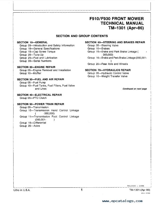 John Deere F910 & F930 Front Mower TM1301 Technical Manual PDF