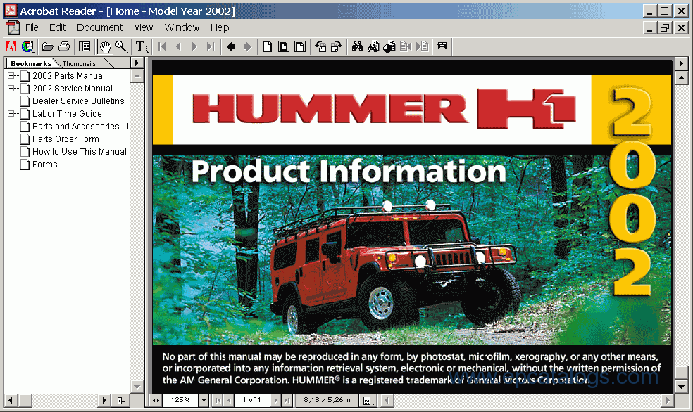 Hummer H1 2002 Electronic Spare Parts Catalogue