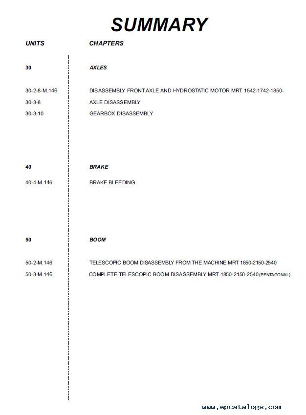 manitou mrt series parts part manual repair manual