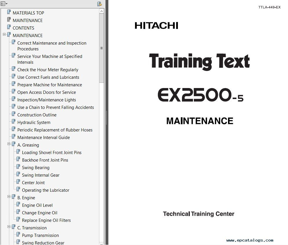 repair manual Hitachi EX2500 & EX2500-5 Excavator Set of PDF Manuals - 12