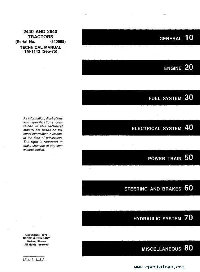 john deere 2440 2640 tractors tm1142 technical manual pdf john deere 2440 & 2640 tractors tm1142 technical manual pdf wiring diagram for john deere 2040 tractor at soozxer.org