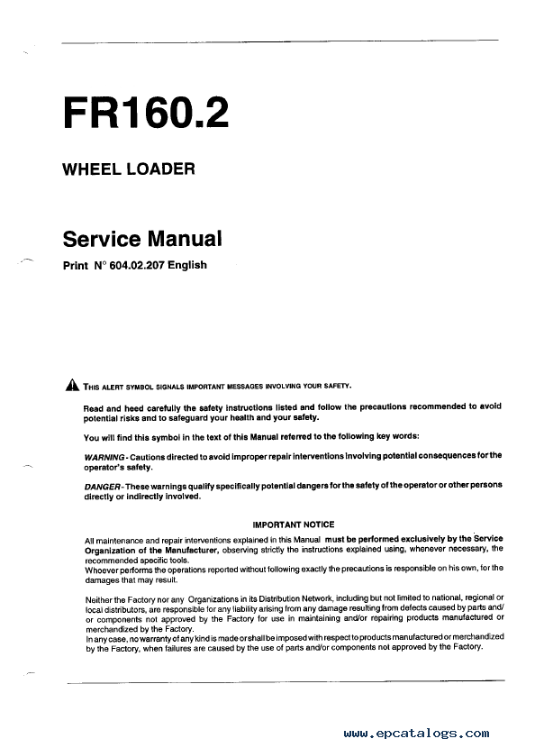 fiatallis fr160 2 loader operation maintenance service pdf rh epcatalogs com