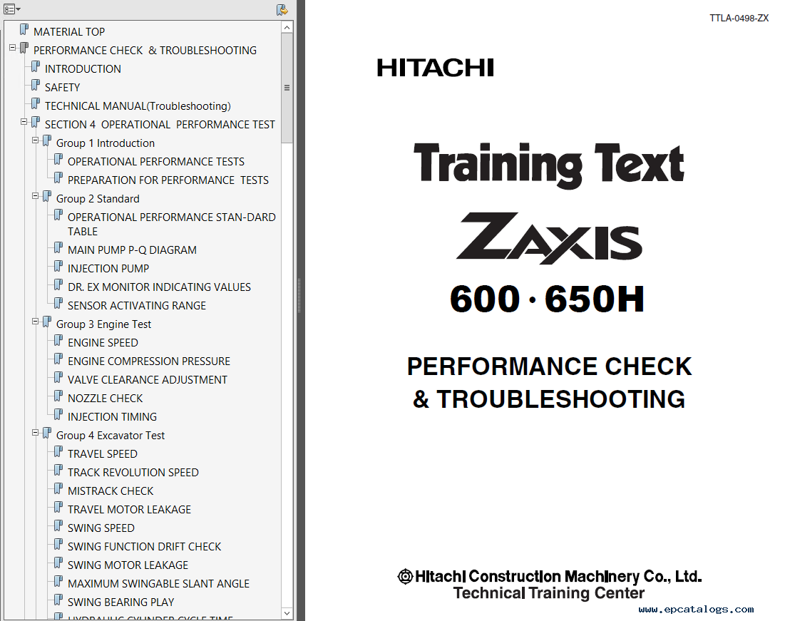 Hitachi Zaxis 600 600LC 600H 600LCH Hydraulic Excavators Set of PDF Manuals