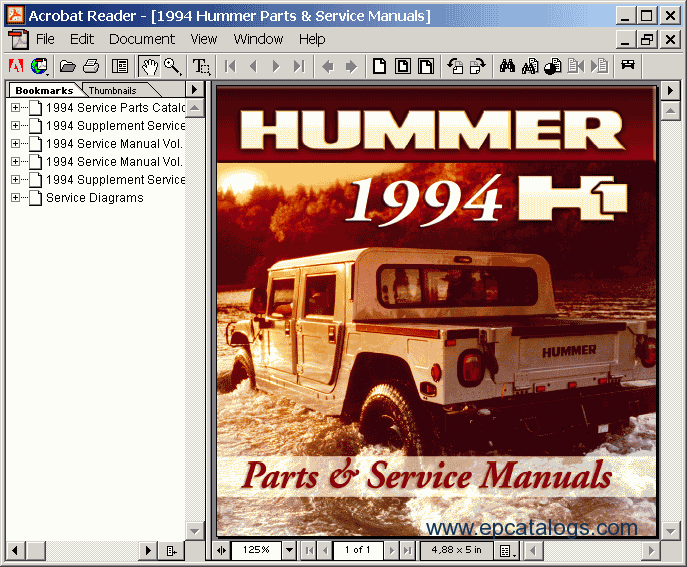 Hummer h1 1994 electronic spare parts catalogue repair manual screenshots for hummer h1 1994 sciox Choice Image
