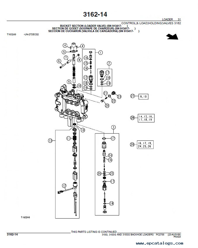 john deere 310g 310 315sg loaders parts catalog pc2755 wiring diagram for john deere 2755