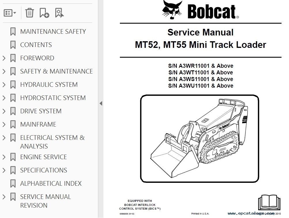 Bobcat MT52 MT55 Mini Track Loader Service Manual PDF