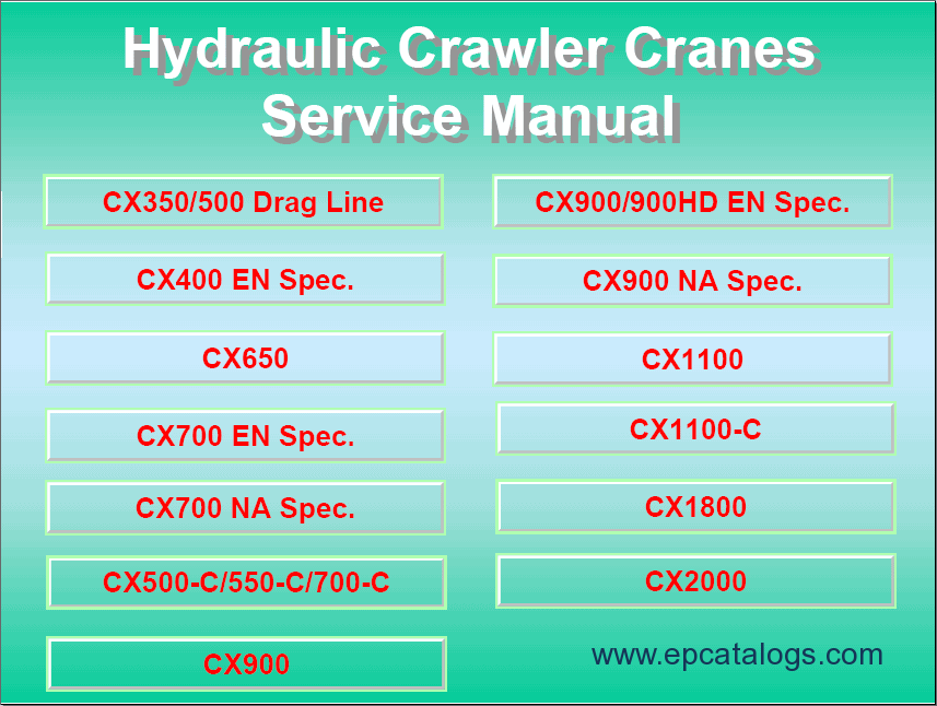 Hitachi Hydraulic Crawler Cranes Service Manual Download